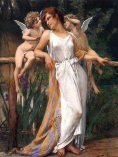 Guillaume Seignac's famouse painting, 'Nymph and Cherubs', Oil Painting Reproduction On Canvas at www.art-hut.com, image info: http://www.art-hut.com/nymph-and-cherubs-p-8421.html