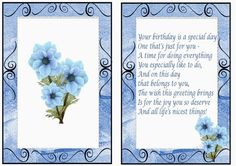 pretty blue flowers A5 Insert, also can be seen with bow and butterflies, makes a pretty card
