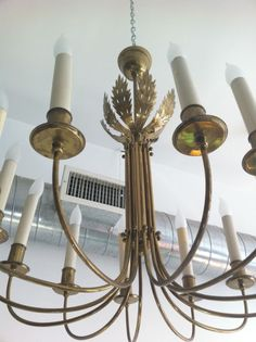 Austrian Brass Fifties Chandelier | From a unique collection of antique and modern chandeliers and pendants  at https://www.1stdibs.com/furniture/lighting/chandeliers-pendant-lights/