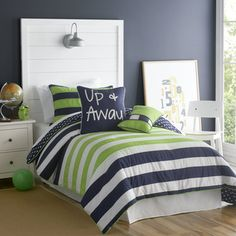 @Overstock - Take him from little boyhood into teendom with this boys comforter set. Featuring jaunty blue, green, and white nautical stripes, this comforter set is sure to please. The three-piece cotton/polyester blend set includes a comforter and two shams.http://www.overstock.com/Bedding-Bath/Big-Believers-Up-and-Away-3-piece-Comforter-Set/7260133/product.html?CID=214117 $79.99