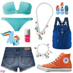 My Little Pony - Rainbow Dash - Outfit - 2Daybit (all the credits on 2daybit.wordpress.com) Calzedonia – Bikini Hollister – High Rise Shorts Dior – Vernis Lucky 659 Prada – Royal Blue Backpack Converse – Orange All Star Claire's - My Little Pony – Necklace Claire's - My Little Pony – Bracelet Mimoco – USB Flash Drive – Rainbow Dash My Little Pony – www.hasbro.com Rainbow Dash image in the collage by CrusierPl