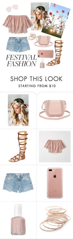 """Good Vibes: Festival Fashion"" by caroline13c ❤ liked on Polyvore featuring Emily Rose Flower Crowns, Charlotte Russe, belle by Sigerson Morrison, Abercrombie & Fitch, RE/DONE, Belkin, Essie and Red Camel"