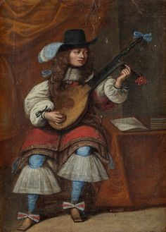 Flemish school, circel by Gillis Van Tilborgh  — A lute player in an interior,    the second half of the 17th century   (680x950)