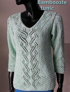 Bamboozle Tunic with Lace Panel  Pullover -  free knit pullover pattern in bamboo yarn - Crystal Palace Yarns
