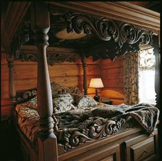 Waking up in this gorgeous bed. Gothic Furniture, Unique Furniture, Bedroom Furniture, Furniture Styles, Dream Bedroom, Home Bedroom, Bedroom Decor, Master Bedroom, Carved Beds