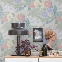 Lisa Grue´s world of flowers inspired by Nordic flora and fauna. Pattern Lisa is a bonanza of colours on a grey background. Beige Wallpaper, Classic Wallpaper, Luxury Wallpaper, Wallpaper Size, Flower Wallpaper, Designer Wallpaper, Pattern Wallpaper, Hallway Wallpaper, Amazing Wallpaper