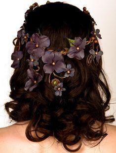 Rustic Wedding Crown Bridal Headpiece - Enchanted Forest Wedding - Woodland Nymph - Twining Vines & Dusk Blue Flowers - The Aurelia