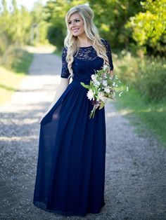 Country Bridesmaid Dresses 2016 New Hot Long For Weddings Navy Blue Chiffon Short Sleeves Illusion Lace Beads Floor Length Maid Honor Gowns Country Style Bridesmaid Dresses, Navy Blue Bridesmaid Dresses, Lace Bridesmaids, Wedding Bridesmaid Dresses, Country Dresses, Wedding Gowns, Long Navy Blue Dress, Wedding Ceremony, Casual Bridesmaid