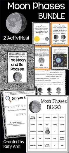 BEST SELLER! Both of my Moon Phases activities in one bundle (built from student-friendly content), and it even includes student notes to use when teaching! This has been a big seller!!