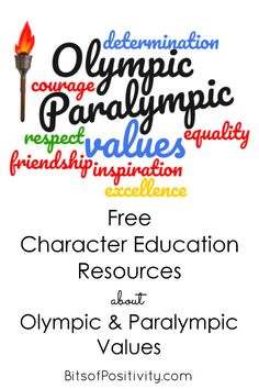Character education songs, unit studies, and other resources related to the Olympic and Paralympic values; perfect for a character education program or unit study for multiple ages - Bits of Positivity Learning Letters, Alphabet Activities, Weightlifting For Beginners, Free Characters, Character Education, Early Literacy, Teaching Resources, Olympics, Inspirational Quotes