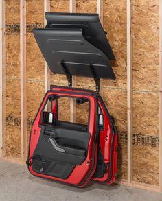 Storing your hardtop freedom panels and steel doors is easy and convenient with a Lange Roof Panel & Door Hanger Combo Bracket. Jeep Wrangler Colors, Jeep Wrangler Accessories, Jeep Wrangler Tj, Jeep Accessories, Jeep Wrangler Unlimited, Jeep Gear, Jeep Jk, Jeep Doors, Jeep Garage