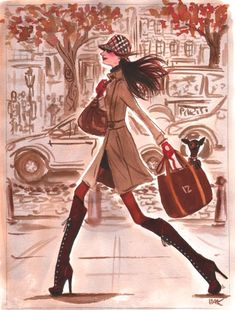 women in paris with their dogs and high heels - Sharon Santoni = Illustration by Izak Zenou