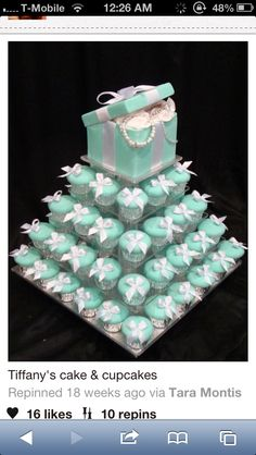 Tiffany cupcakes for a bridal shower. I know a gal in town who has made these cupcakes before. Her business is called Queen Bee Cupcakes. She is awesome! Tiffany Theme, Azul Tiffany, Tiffany Wedding, Tiffany Blue Party, Gold Wedding, Purple Wedding, Tiffany Co Party Ideas, Breakfast At Tiffanys Party Ideas, Tiffany Birthday Party