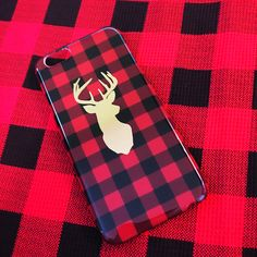 Buffalo Check red and black deer iPhone 6 iPhone 6s phone case  Christmas phone case   lumberjack phone case