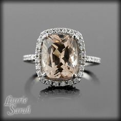 Cushion Cut Morganite Engagement Ring with by LaurieSarahDesigns, $2836.50