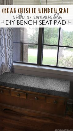 Turn a cedar chest into a window seat by making a removable DIY bench seat for it that attaches with no nails or screws. Also for pets to look out windows. Bench Seat Pads, Diy Bench Seat, Bench Cushions, Window Benches, Window Seats, Window Sill, Diy Pallet Furniture, Furniture Ideas, Furniture Refinishing
