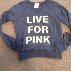 "Victorias Secret pullover Neutral gray color with the words ""live for pink"" on the front in white with green outlines. There are pockets In the front like a sweatshirt. It's very thin but not as thin as a t-shirt. Very cute on. Victoria's Secret Jackets & Coats"