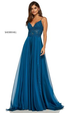 Sherri Hill 52818 A simple yet elegant flowy chiffon gown with sheer lace bodice. Features a v neckline and spaghetti straps. TBC Occasions, located inside The Bridal Collection, features the best selection of special occasion gowns in Denver, Colorado! Sherri Hill Prom Dresses, Plus Size Prom Dresses, Grad Dresses, Junior Dresses, Wedding Dresses, Chiffon Dress Long, Designer Prom Dresses, Prom Girl, Formal Evening Dresses