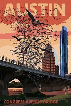 Austin, Texas - Bats and Congress Avenue Bridge (12x18 Art Print, Travel Poster)
