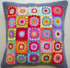 granny square cushion cover in grey edging   by riavandermeulen