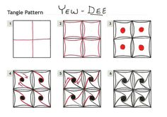 How to draw YEW-DEE by Peg Farmer, CZT « TanglePatterns.com - Pinned with Pin Anything from pin4ever.com
