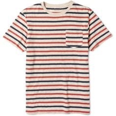 J.Crew Porter Striped Cotton-Jersey T-Shirt (€11) ❤ liked on Polyvore featuring men's fashion, men's clothing, men's shirts, men's t-shirts, tops, shirts, t-shirts, tees, red and pattern