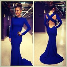 2014 Sexy robe de soiree Evening Dress High Neck Long Sleeve Criss Cross Backless Royal Blue Mermaid Prom Dresses BO5960_2014 Evening Dresse...