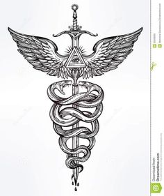 symbole-de-caduce-d-illustration-de-mercury-d-un-dieu-62558305.jpg (1090×1300)