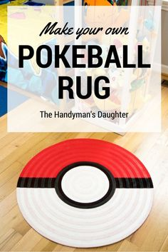 This pokeball rug is perfect for your little Pokemon trainer! Create this simple area rug for a Pokemon themed bedroom with a circular rug and fabric paint.