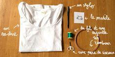 Broderie facile : apprenez une broderie facile, la broderie sur un tee-shirt - Elle
