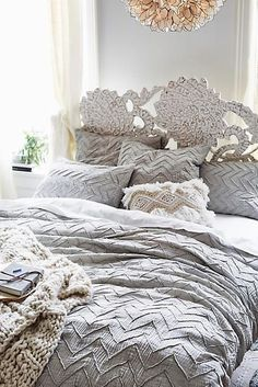 Anthropologie Textured Chevron Duvet Cover