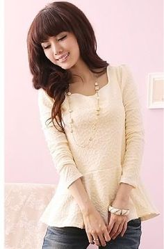 White Long Sleeves Cute Asian Fashion Blouse with Embossed Pattern and Peplum