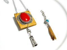 Use code NOV30 for 30% off!!! Cherry Red Cabochon Pendant Boho Chic Jewelry Boho by Machilabags