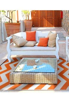 The Psychedelia Outdoor/Indoor Rug is a durable striped area rug that's suitable for any environment. Attractively quirky, available in a range of colours!