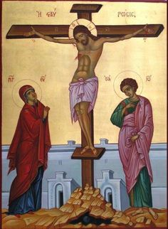 The icon of The Crucifixion - Η Σταύρωσις :: Greek orthodox byzantine icons related to the life of Jesus Christ Byzantine Icons, Byzantine Art, Christian Stories, Christian Art, Religious Icons, Religious Art, Greek Icons, Life Of Jesus Christ, Holy Saturday