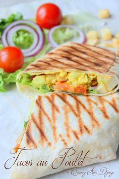 Tacos au poulet et garam massala Plats Ramadan, Taco Wraps, Ramadan Recipes, Ramadan Food, Snack Recipes, Snacks, Shawarma, Wrap Sandwiches, Garam Masala