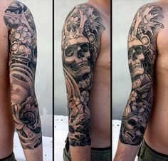Love the black and grey of this design and while I am not the biggest fan of skulls, this is a gorgeous piece.