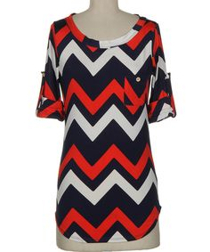 Look at this Red & White Zigzag Roll-Tab Sleeve Tee - Women on #zulily today!