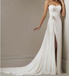 White / ivory chiffon beach wedding dress bridal gown, sexy strapless wedding dress, chiffon wedding dress prom dresses on Etsy, $139.00
