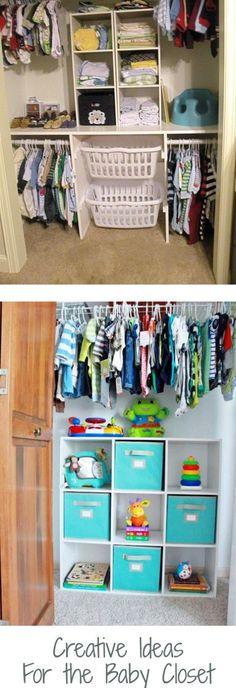 How to organize the nursery closet on a budget - baby closet organization ideas and DIY organization hacks - even for SMALL nurseries baby closets. Use cheap organizers from Dollar Stores, Home Depot, Ikea etc for hanging shelves, dresser, bins, cubes dividers and more