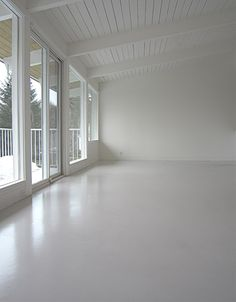 white polished concrete floors