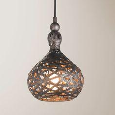 Aged Tin Wrapped Onion Pendant gunmetal_and_bronze
