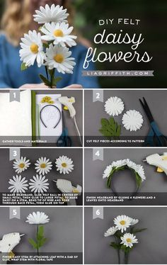 Make Your Own Felt Daisies in Just 5 Easy Steps! - Make Your Own Felt Daisies in Just 5 Easy Steps!These felt daisies are easy as pie and cute as can be! Create your own bouquet or daisy headband to let your inner flower child bloom.Fun felt crafts i Paper Flowers Diy, Handmade Flowers, Flower Crafts, Fabric Flowers, Craft Flowers, Crochet Flowers, Felted Flowers, Felt Flowers Patterns, Felt Flower Bouquet