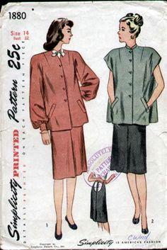 Simplicity 1880 Vintage 1940s Maternity Smock  Skirt Pattern B32