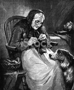 "A bespectacled old lady sitting in a Windsor chair knitting a sock, while her dog rests its head on her lap and watches her. From ""The Sunday at Home: A Family Magazine for Sabbath Reading, Art Drawings, Figure Drawings, Woman Illustration, Howls Moving Castle, Woman Drawing, Drawing Poses, Female Poses, Free Illustrations, Free Vector Art"