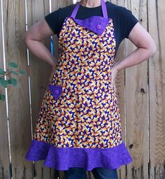 Ruffled Halloween Candy Corn Apron Size XL by SusiesTieOneOnAprons, $29.00