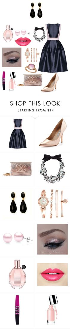 """party"" by lorena-marturano ❤ liked on Polyvore featuring Mode, Lattori, Charles David, Chanel, J.Crew, Anne Klein, Suzy Levian, Viktor & Rolf, Fiebiger und Maybelline"