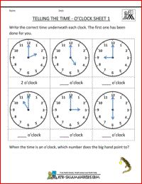 Telling the time - o'clock worksheet 1