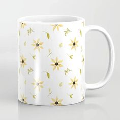 Yellow florals pretty country chic pattern Coffee Mug Tea Mugs, Coffee Mugs, Unique Office Supplies, Country Chic, Brand You, Perfect Place, Florals, Stationery, Yellow