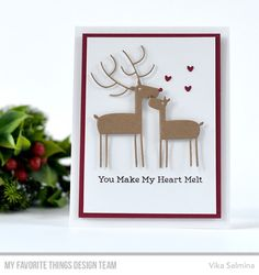 Stamps: You Make My Heart Melt Die-namics: Deer Love Vika Salmina #mftstamps